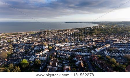 Editorial SWANSEA, UK - APRIL 13, 2017: A view of Swansea West and the Bay area towards the Mumbles looking from Cwmdonkin Park in the Uplands area
