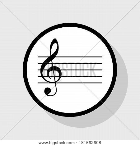 Music violin clef sign. G-clef. Vector. Flat black icon in white circle with shadow at gray background.