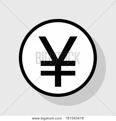 Yen sign. Vector. Flat black icon in white circle with shadow at gray background.