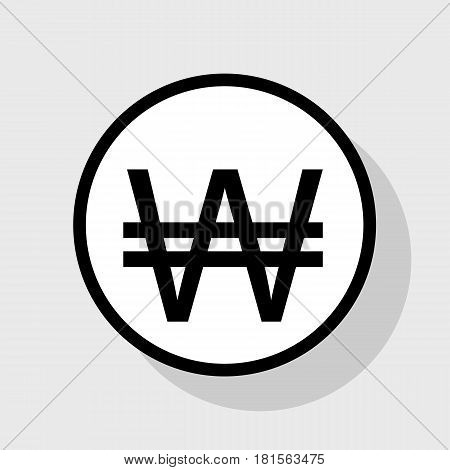 Won sign. Vector. Flat black icon in white circle with shadow at gray background.