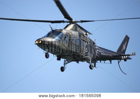 ROME - JUNE 3: An Agusta A109 helicopter performs at the Rome International Air Show on June 3 2012 in Rome Italy