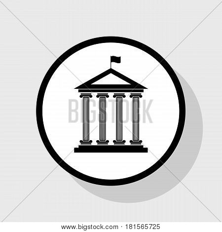 Historical building with flag. Vector. Flat black icon in white circle with shadow at gray background.