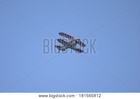 ROME - JUNE 3: A Pitts Special aerobatic biplane performs at the Rome International Air Show on June 3 2012 in Rome Italy