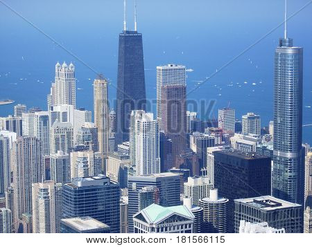 CHICAGO ILLINOIS - AUGUST 14: View of Chicago from the Willis Tower on August 14 2009 in Chicago Illinois. Chicago is the largest city in the U.S. state of Illinois
