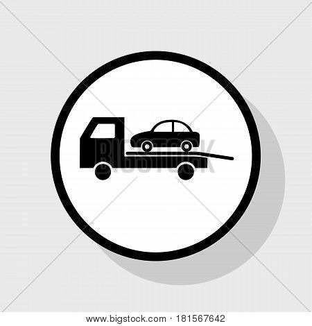 Tow car evacuation sign. Vector. Flat black icon in white circle with shadow at gray background.