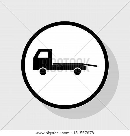 Service of evacuation sign. Wrecking car side. Car evacuator. Vehicle towing. Vector. Flat black icon in white circle with shadow at gray background.
