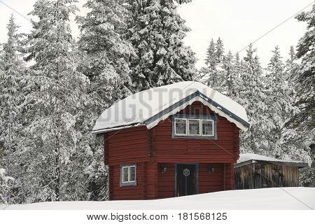 Small Swedish cottage in Winter wonderland .