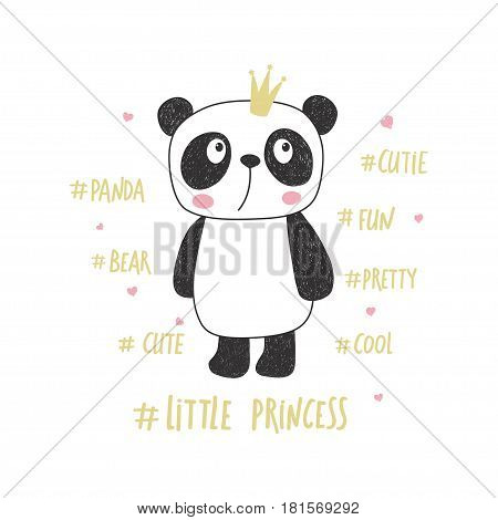 Little panda princess. Nursery vector illustration. Can be used for kid's clothing. Use for print design, surface design, fashion kids wear