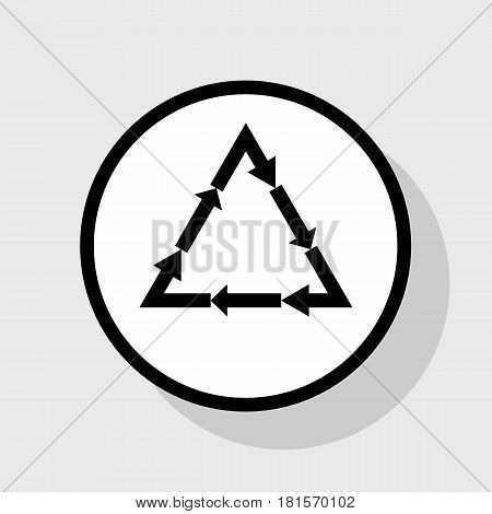 Plastic recycling symbol PVC 3 , Plastic recycling code PVC 3. Vector. Flat black icon in white circle with shadow at gray background.
