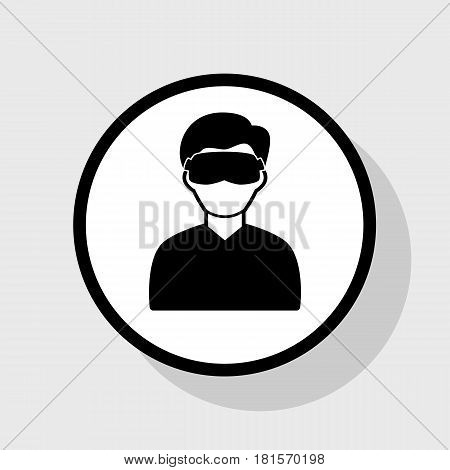 Man with sleeping mask sign. Vector. Flat black icon in white circle with shadow at gray background.
