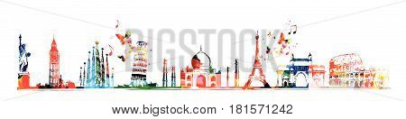 Travel and tourism background. Famous world landmarks vector illustration. World skyline isolated