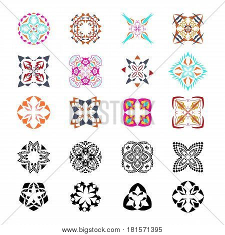 Vector set of tribal colorful and black decorative patterns for design. Aztec ornamental style. Ethnic native american indian ornaments