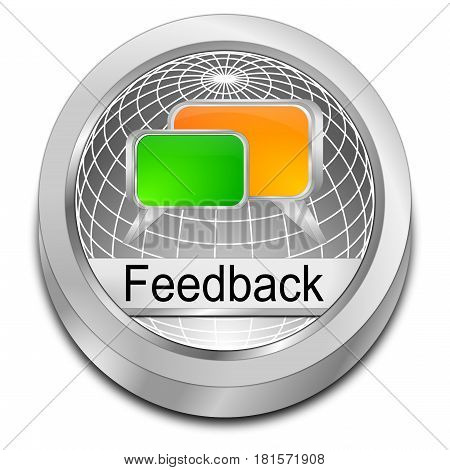 decorative silver Feedback button - 3D illustration