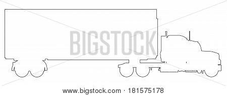 A large lorry in black outline on a white background