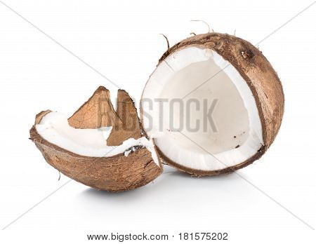 Two parts of a coconut isolated on white background