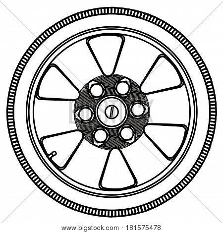 A low profile tyre on an aluminium wheel in outline over a white background