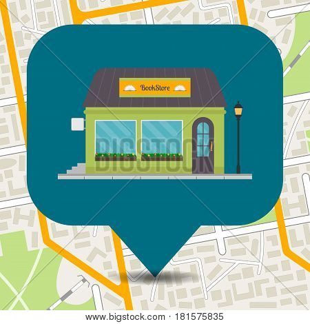 Bookstore icon on city map. EPS10 vector illustration in flat style.