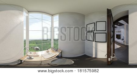 3d illustration of the interior design of the small home office. The style of the apartment is modern in gray and white colors. Render is executed, 360 degree spherical seamless panorama for virtual reality.