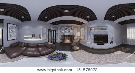 3d illustration of the interior design of the living room. The style of the apartment is modern. Render is executed, 360 degree spherical seamless panorama for virtual reality.
