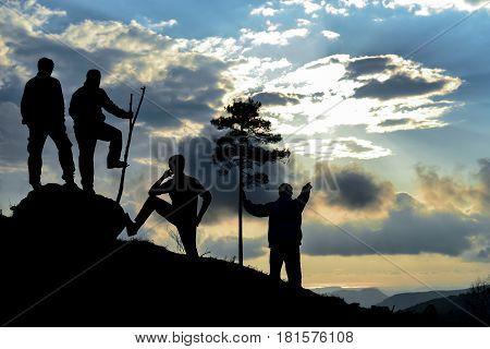 sunset on the summit of the mountain