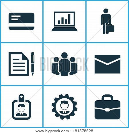 Job Icons Set. Collection Of Diagram, Contract, Id Badge And Other Elements. Also Includes Symbols Such As Group, Statistics, Unity.