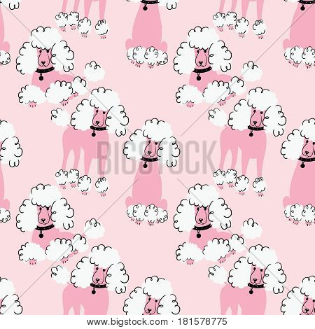 Cartoon doodle poodles seamless pattern. Cute purebred dogs wallpaper. Funny pets illustration.