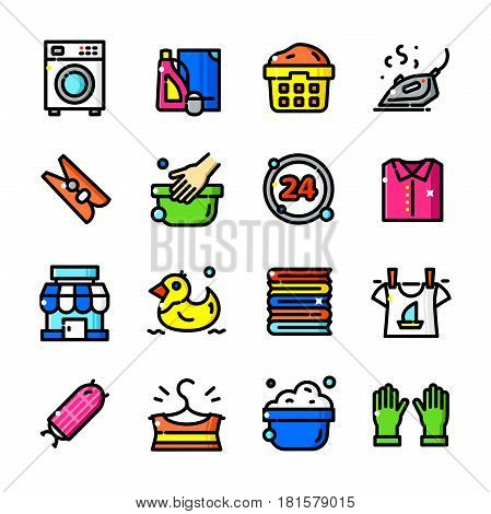 Thin line Laundry Service icons set, Washing Business outline logos vector illustration