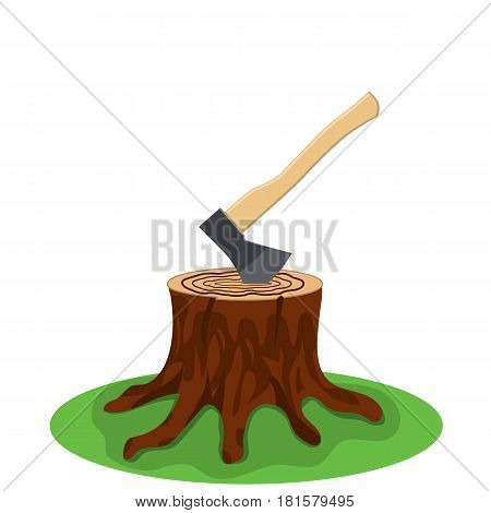 A tree stump with an axe stuck isolated on white background. Vector illustration in flat style