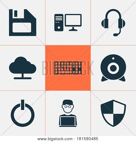 Computer Icons Set. Collection Of Programmer, Broadcast, Earphone And Other Elements. Also Includes Symbols Such As Shield, Programmer, Disk.