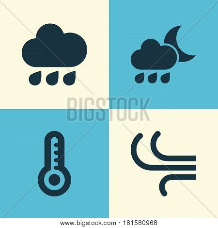 Climate Icons Set. Collection Of Temperature, Rainy, Breeze And Other Elements. Also Includes Symbols Such As Nightly, Temperature, Cold.