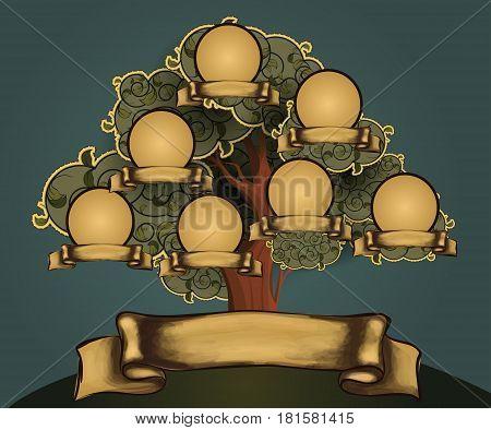 Green retro family tree pattern for design