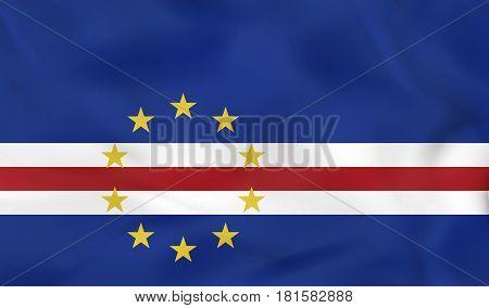 Cape Verde Waving Flag. Cape Verde National Flag Background Texture.