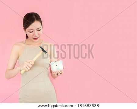 Young Woman Smashed Piggy Bank With A Hammer