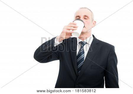 Senior Elegant Man Drinking Takeaway Coffee