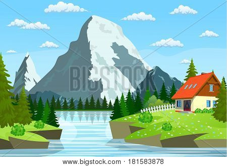River flowing through the rocky hills. Summer landscape with mountains and house. River and the forest, nature landscape. vector illustration