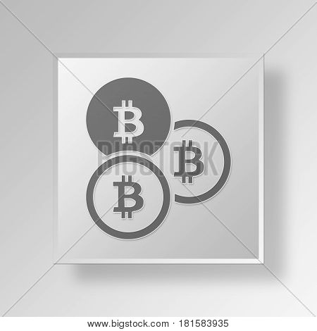 3D Symbol Gray Square bit coins icon Business Concept
