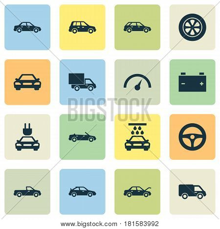 Automobile Icons Set. Collection Of Automobile, Fixing, Drive Control And Other Elements. Also Includes Symbols Such As Cabriolet, Carriage, Steering.