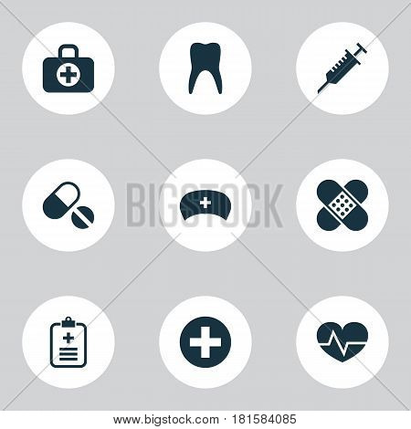 Medicine Icons Set. Collection Of Beating, Surgical Bag, Pills And Other Elements. Also Includes Symbols Such As Plaster, Dental, Hat.