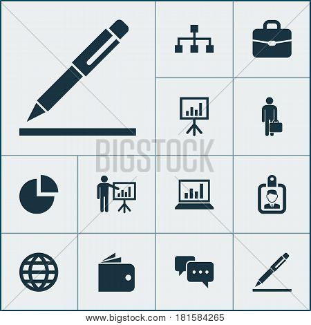 Trade Icons Set. Collection Of Suitcase, Presenting Man, Hierarchy And Other Elements. Also Includes Symbols Such As Id, Structure, Wallet.