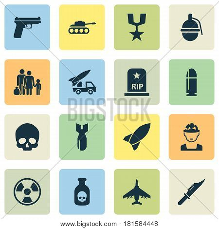 Army Icons Set. Collection Of Fugitive, Rip, Cranium And Other Elements. Also Includes Symbols Such As Missile, Artillery, Scalper.
