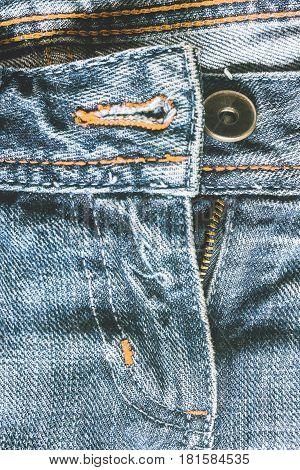 Denim Pants To Unfasten The Zipper Close-up