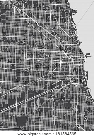 Poster Chicago city plan, detailed vector map