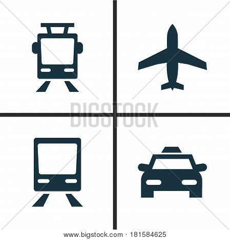 Shipment Icons Set. Collection Of Streetcar, Railway, Aircraft And Other Elements. Also Includes Symbols Such As Airplane, Wagon, Flight.