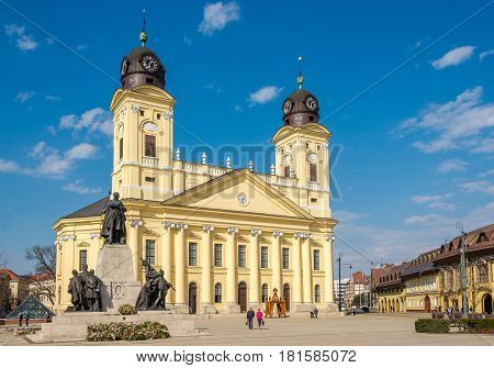 DEBRECEN ,HUNGARY - MARCH 22,2017 - Great church at the place of Kossuth in Debrecen. Debrecen is the regional centre of the Northern Great Plain region.