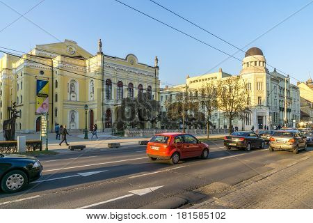 DEBRECEN, HUNGARY - MARCH 22,2017 - In the street of Debrecen in Hungary. View at the Csokonai Theatre.