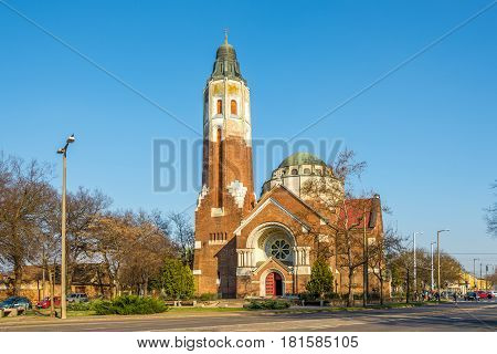 DEBRECEN ,HUNGARY - MARCH 22,2017 - Attila teri Gorog church in Debrecen. Debrecen is the regional centre of the Northern Great Plain region.