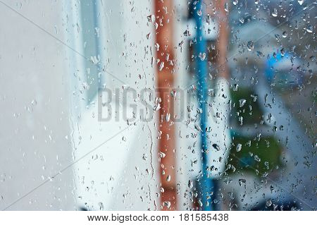 Background Image Of A Rain Texture On A Window Pane. Textured Background Of A Window Viewing On The