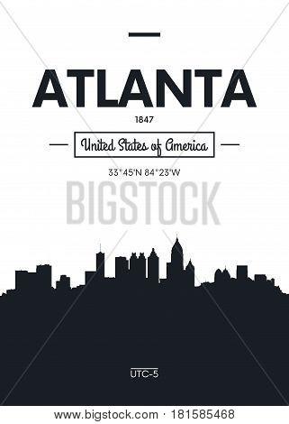 Poster city skyline Atlanta, Flat style vector illustration