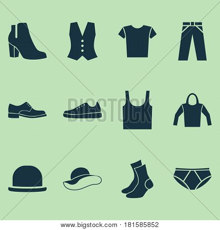 Dress Icons Set. Collection Of Briefs, Singlet, Sneakers And Other Elements. Also Includes Symbols Such As Sweatshirt, Shirt, Underpants.