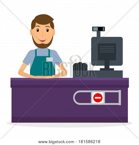 Vector illustration of male cashier at workplace in flat style. Smiling man at the cashier desk.
